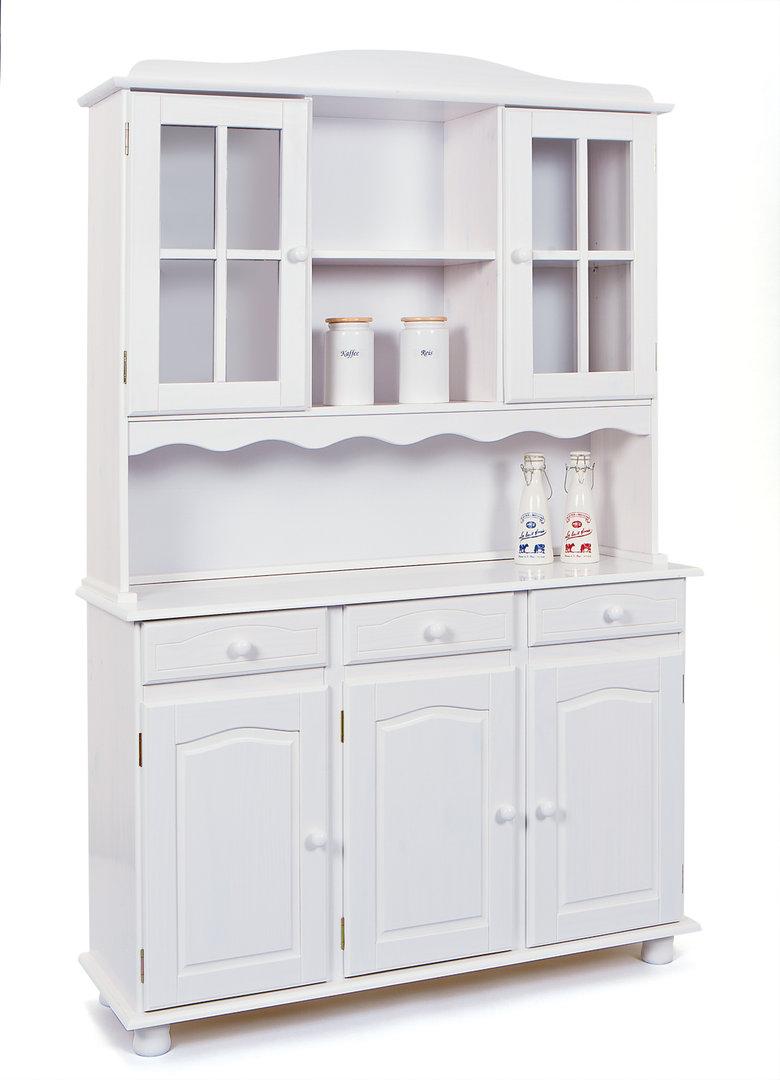 Credenza classica Perugia, mobile vetrine bianco, vetrina legno