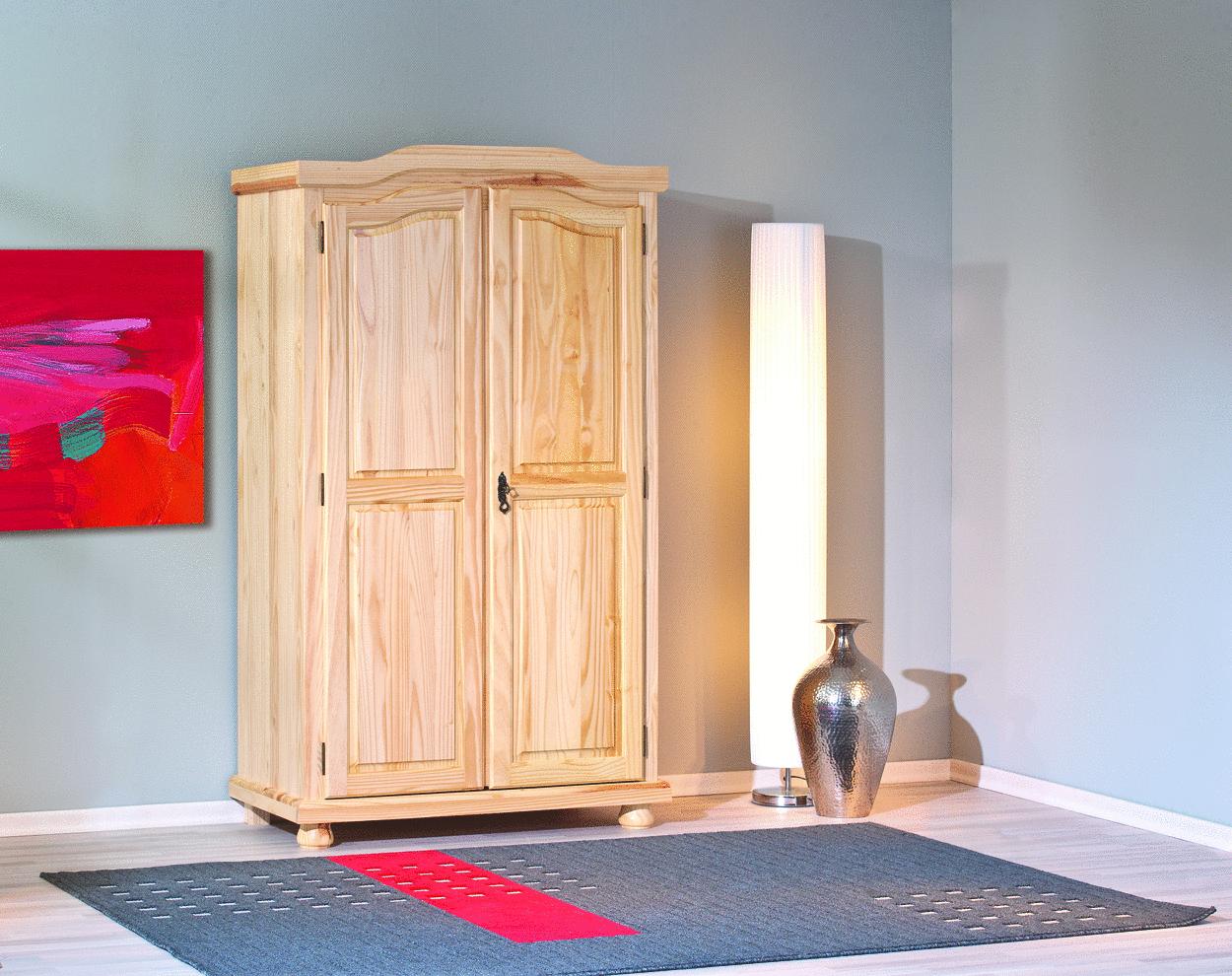 Armadio in legno massello Gisco, naturale o bianco,guardaroba, mobile ...