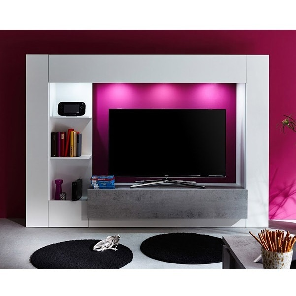 Parete porta tv jane mobile soggiorno moderno bianco con led for Arredamento moderno bianco
