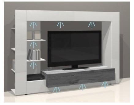 Parete porta tv jane mobile soggiorno moderno bianco con led - Mobile parete porta tv ...