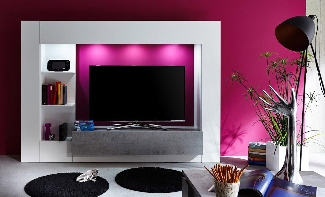 Parete porta tv jane mobile soggiorno moderno bianco con led - Porta tv a parete sospesi ...