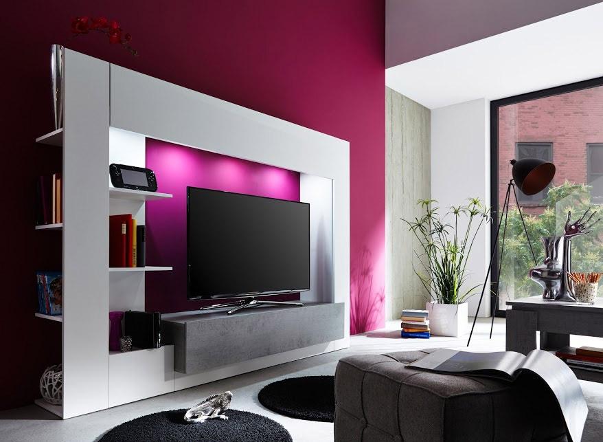 Parete porta tv jane mobile soggiorno moderno bianco con led - Parete soggiorno moderno ...