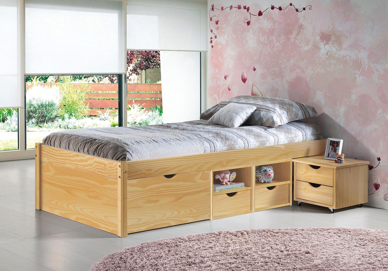 letto in legno nuvola, letto contenitore per camera,cassetti e ... - Camerette In Legno Naturale