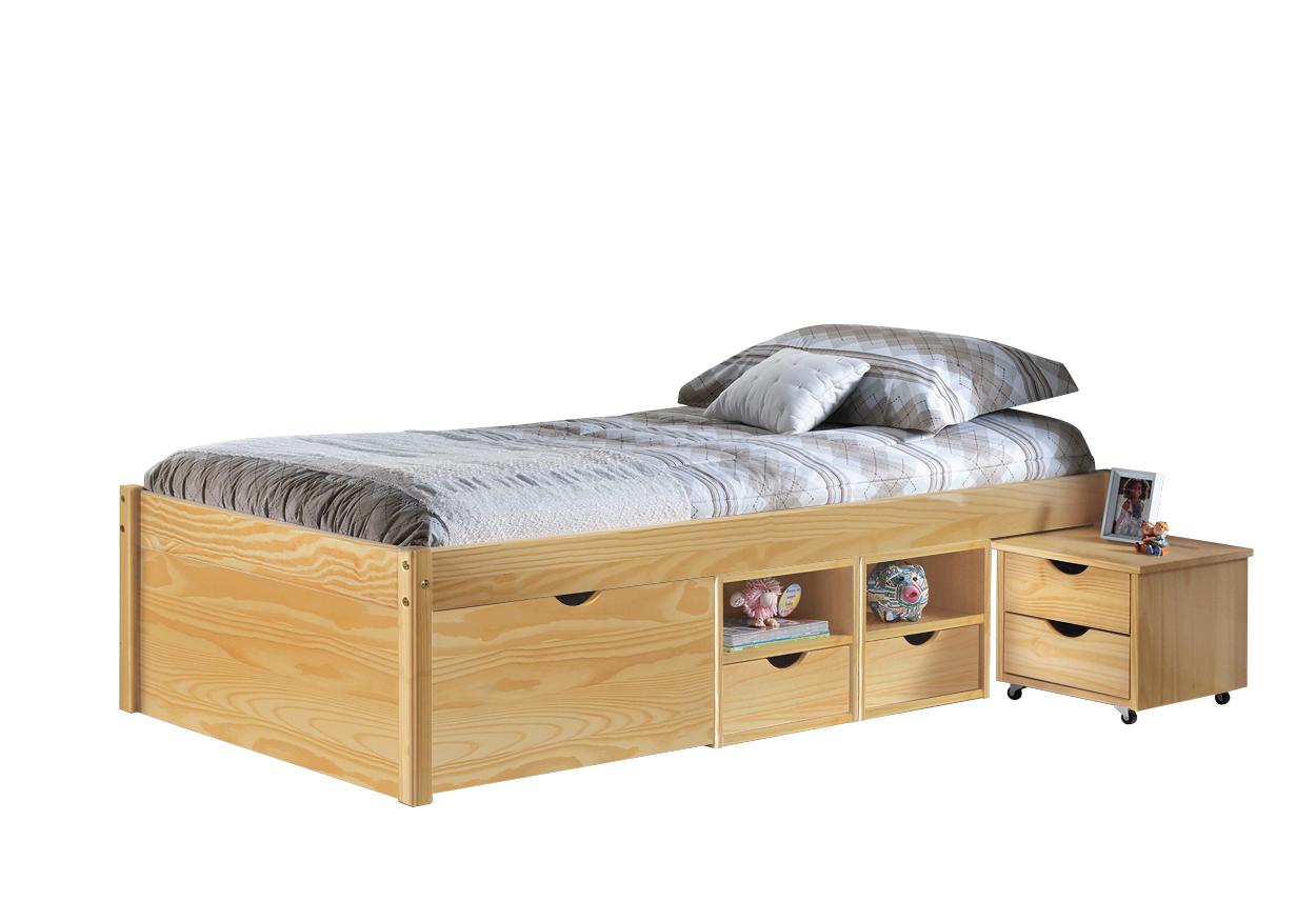 Letto in legno Nuvola, letto contenitore per camera,cassetti e comodino