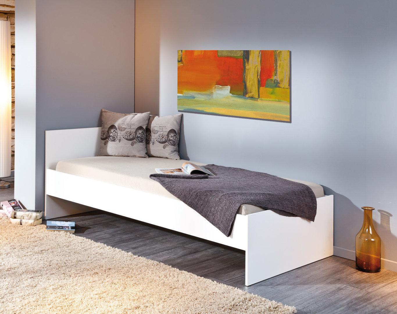 Letto singolo week bianco o rovere mobile moderno ad una - Camera letto singolo ...