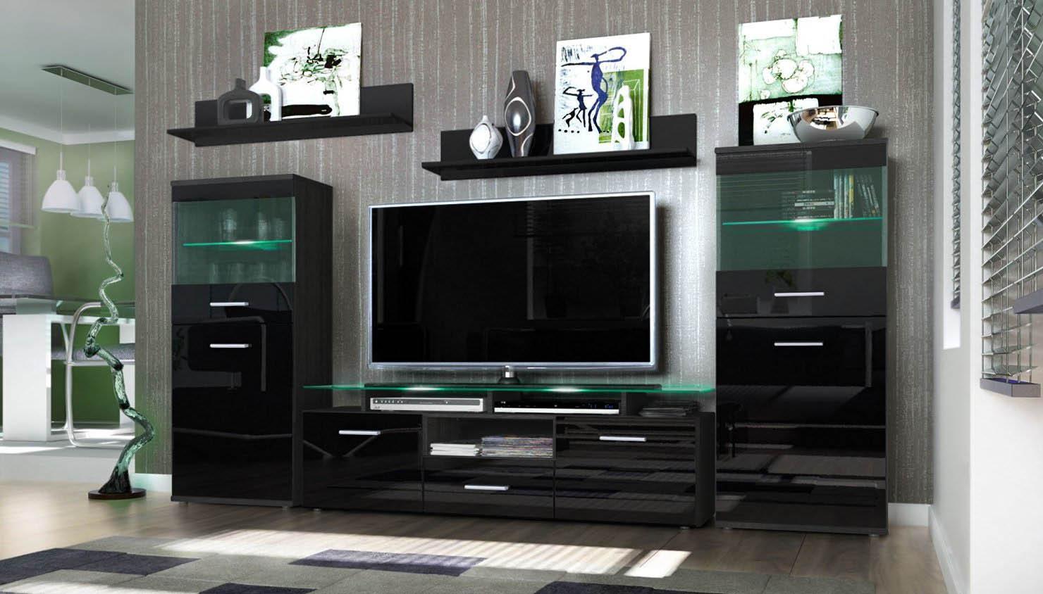 Parete porta tv moderna f21 soggiorno bianco o nero - Porta tv nero ...
