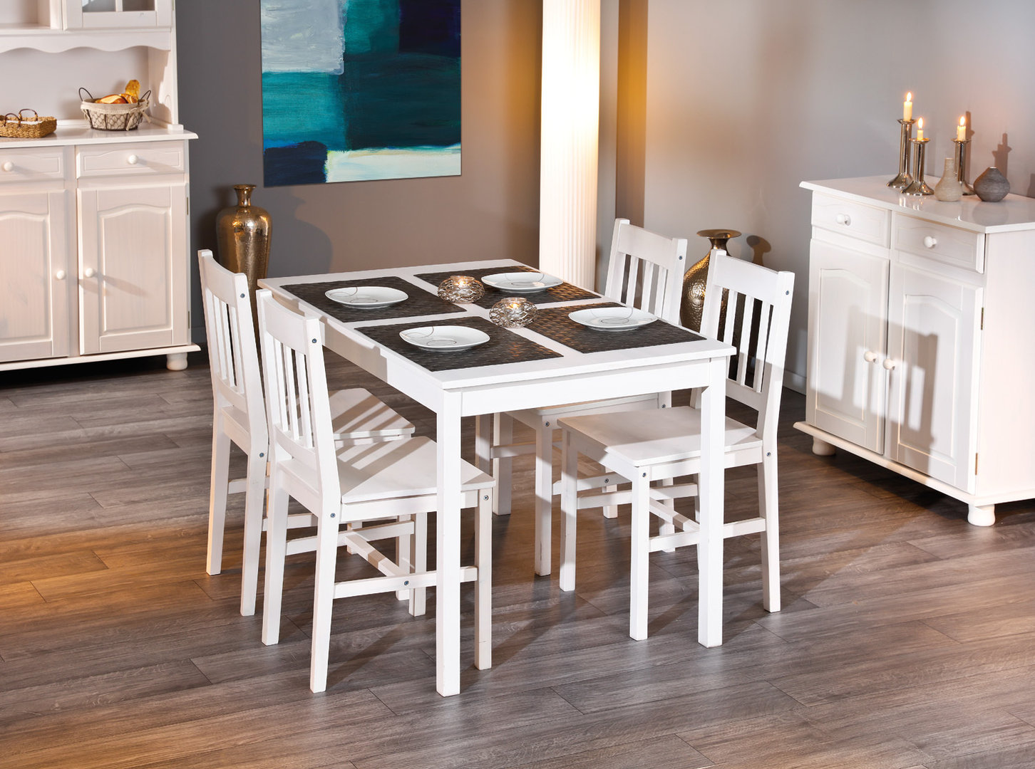 Due sedie Diva 67, sedia bianca moderna in legno, mobile cucina