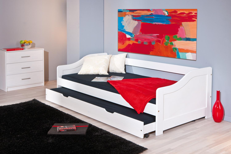 Letto in legno massello arianna con secondo letto estraibile - Letto estraibile moderno ...