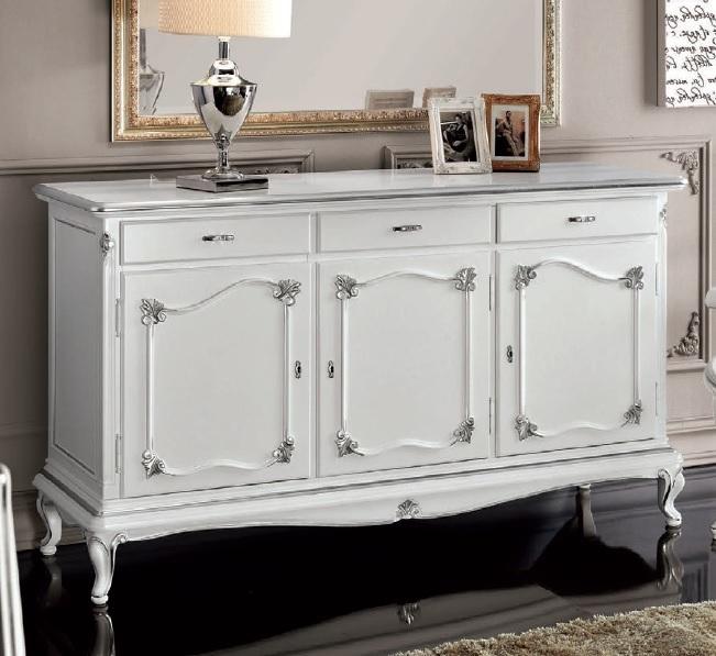 Credenza bianca in stile classico Art Decò, mobile soggiorno