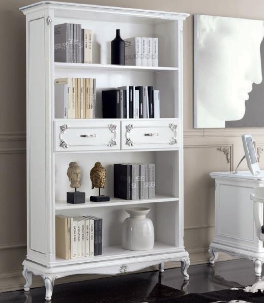 Libreria bianca classica in stile Art Decò, mobile per soggiorno,studio  elegante