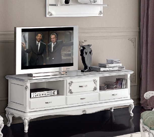 Porta tv classico in stile Art Decò,mobile televisore retrò bianco per  soggiorno