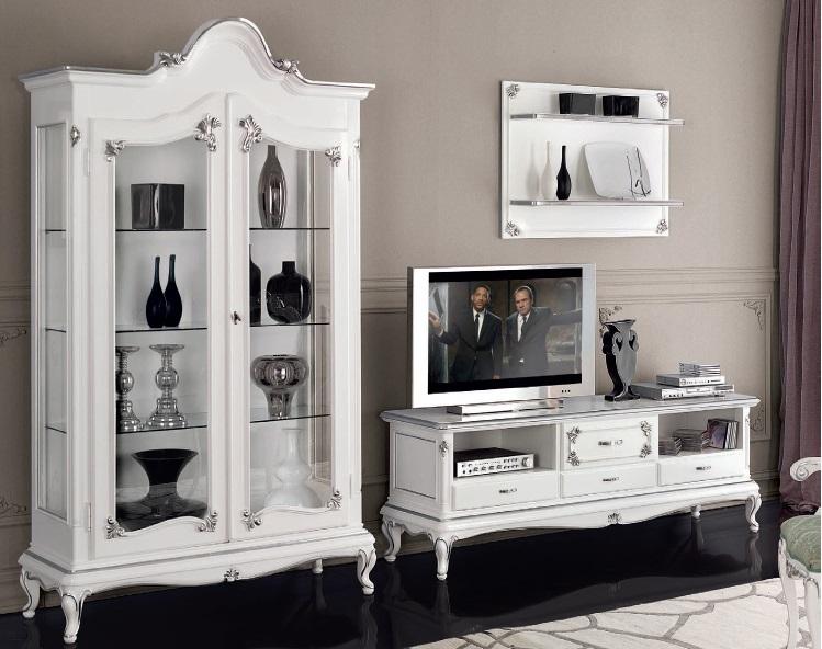 Porta tv classico in stile art dec mobile televisore retr for Mobile soggiorno bianco