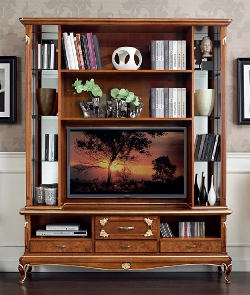 Parete porta tv in stile Art Decò, credenza classica elegante per soggiorno