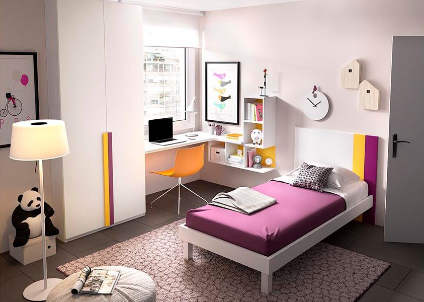 Cameretta bianca bambina e ragazza k 511 mobili colorati for Mobili camera ragazza