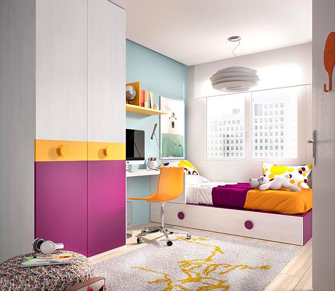 Cameretta bambina ragazza k 214 mobili colorati e moderni for Cameretta ragazza