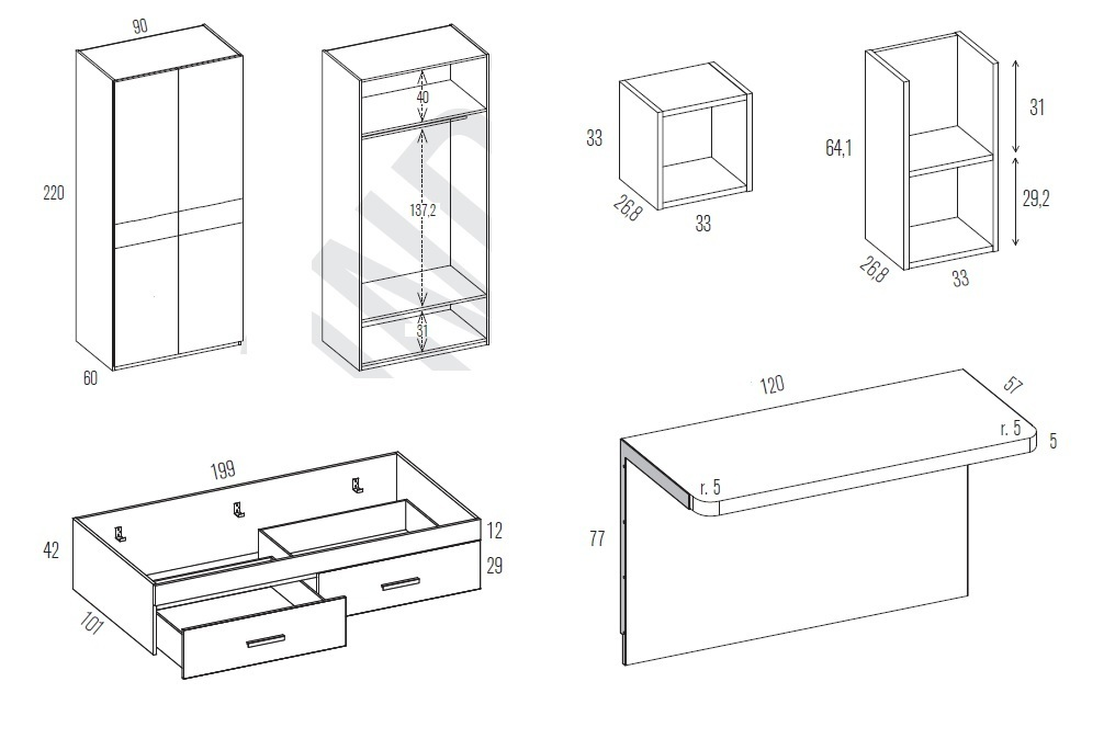 Misure scrivania tavolo disponibile in diverse misure for Misure scrivania