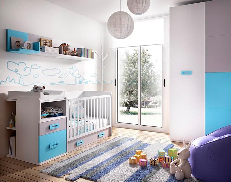Cameretta baby convertibile K 601,letto armadio scrivania bambini