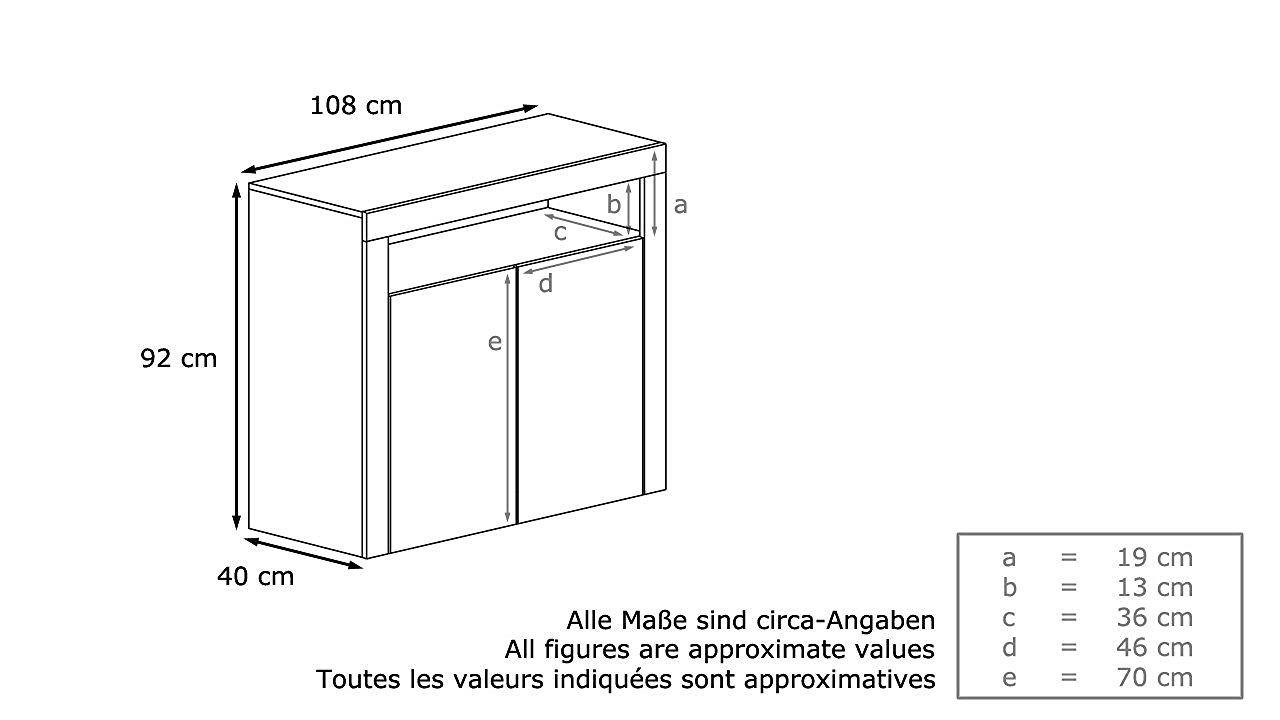 comò moderno girasole 3d, mobile a due ante bianco,soggiorno - Misure Soggiorno