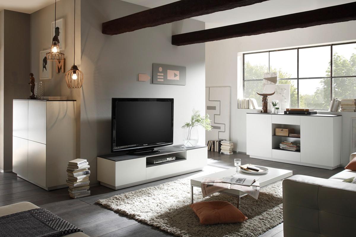 Porta tv moderno velo mobile soggiorno elegante bianco opaco for Mobile soggiorno vetro