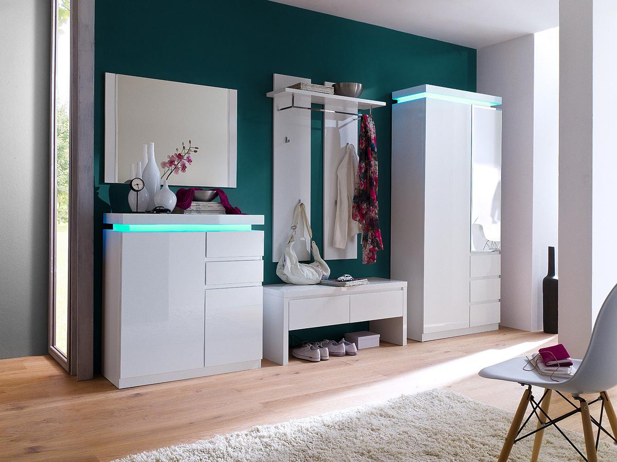 Appendiabiti moderno bianco collezione gaia entrata con led for Mobile ingresso design moderno