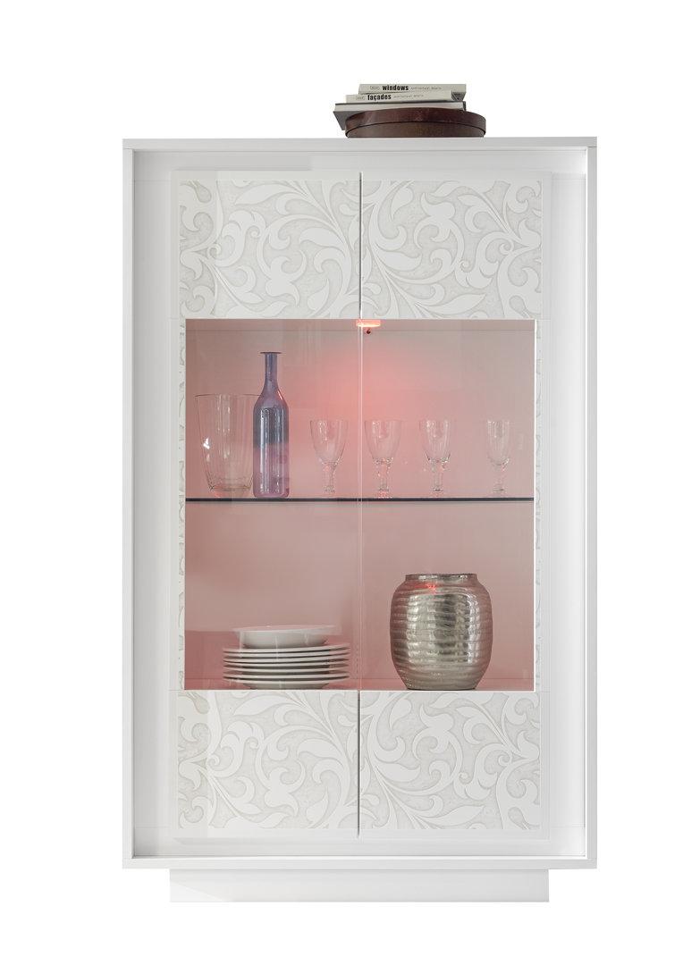 Vetrina moderna Dolce, mobile soggiorno sala con led, credenza