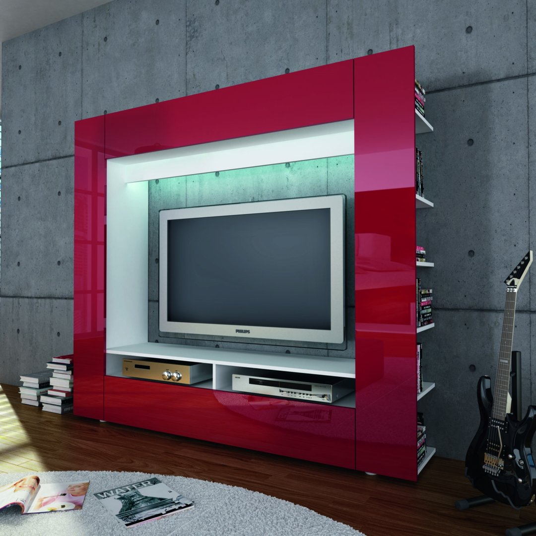 Porta tv grande king parete soggiorno mobile per tv in 5 for Parete attrezzata design moderno