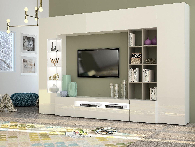 Soggiorno moderno parigi mobile porta tv composizione parete for Mobili sala angolari