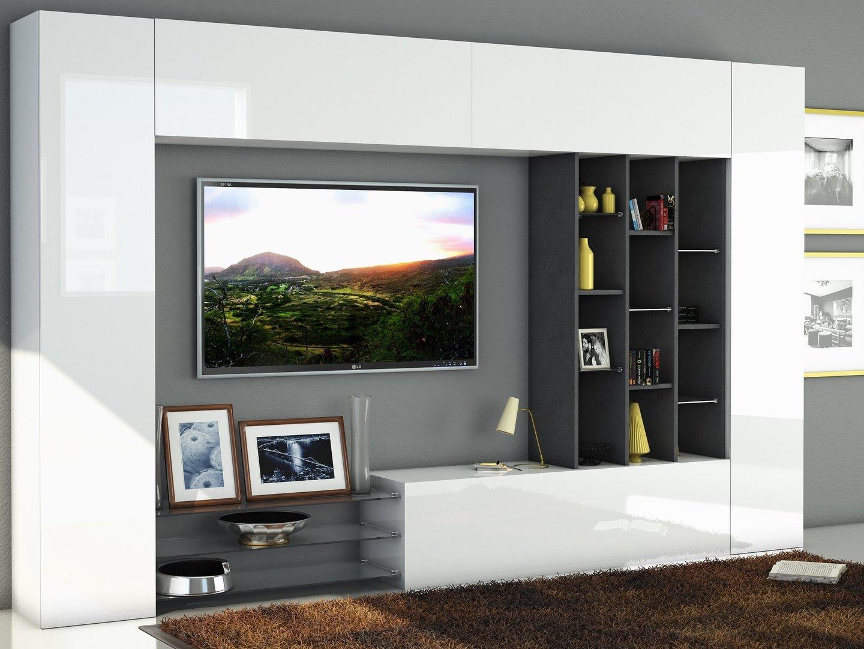 Soggiorno moderno Torino, porta tv bianco, composizione parete