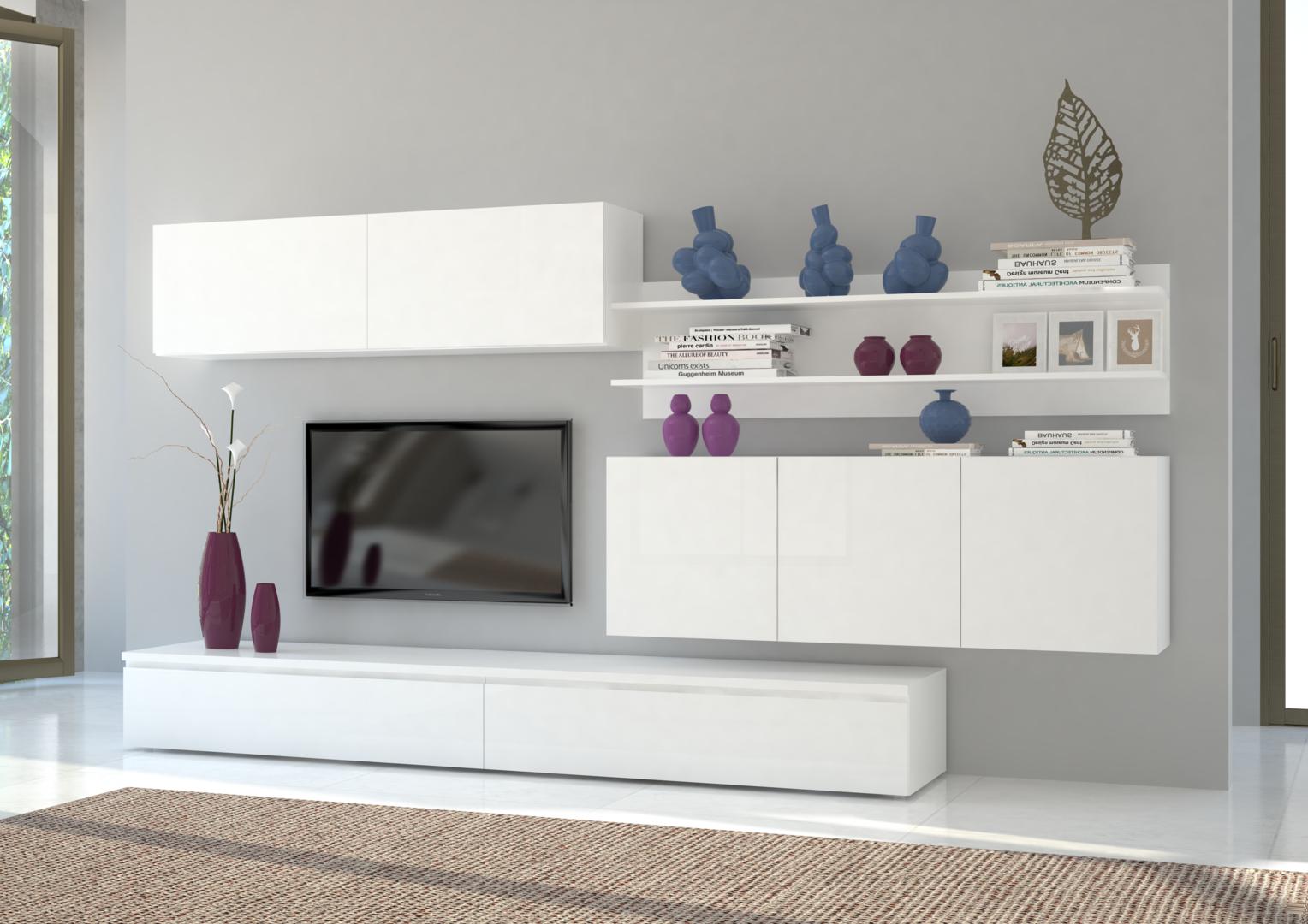 Parete soggiorno genova mobile porta tv soggiorno bianco for Mobile sala design