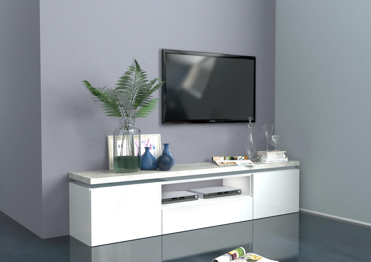 Mobile porta tv bianco messico per soggiorno moderno elegante for Mobile da soggiorno moderno