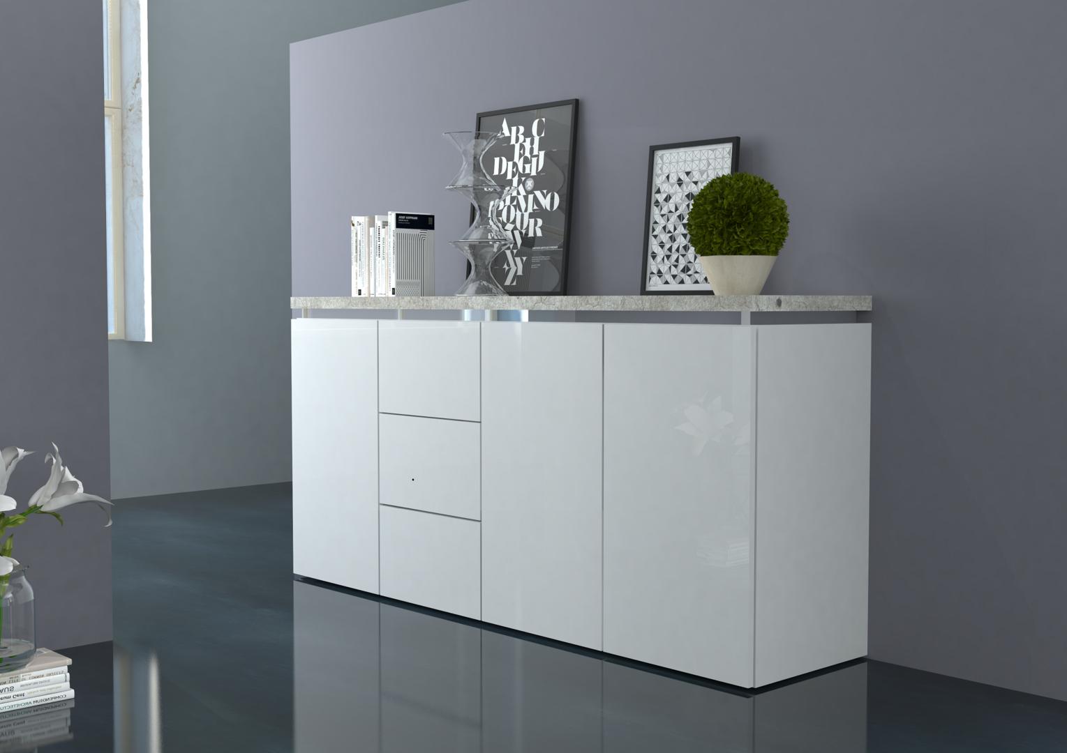 Mobile per soggiorno moderno messico madia bianca credenza for Mobile soggiorno bianco