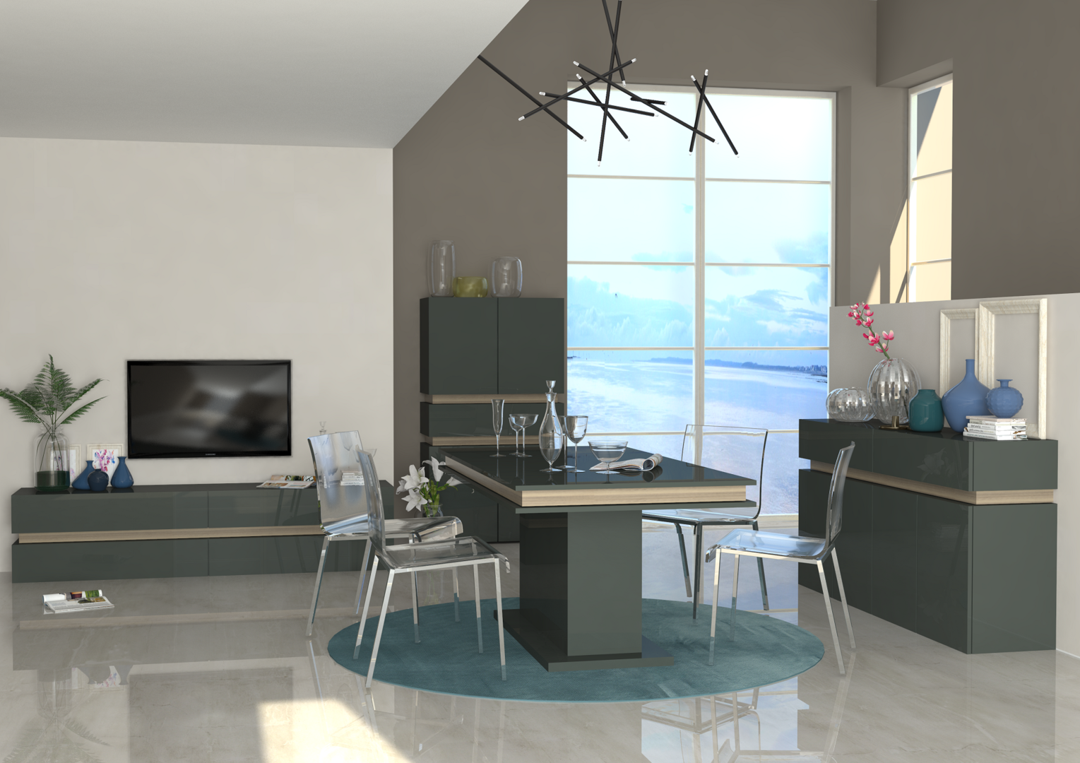 Porta tv capiente grecia mobile per soggiorno bianco o - Mobile sala pranzo ...