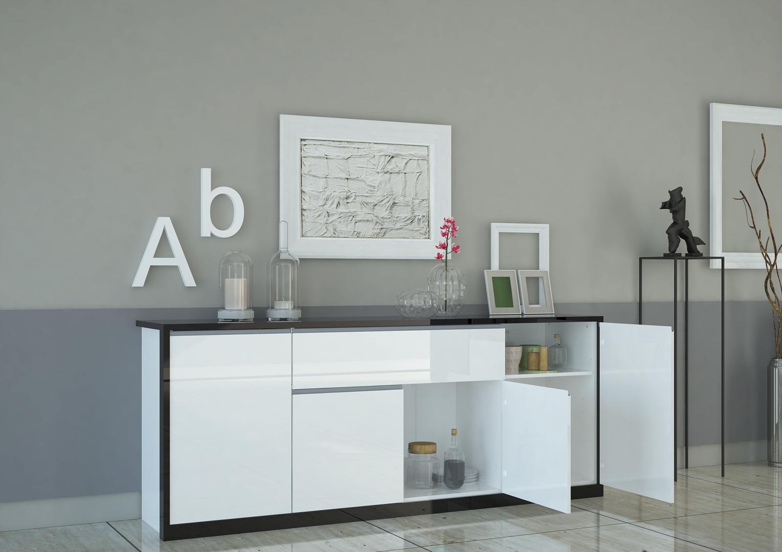 Madia bianca avana credenza moderna mobile soggiorno for Soggiorno moderno elegante