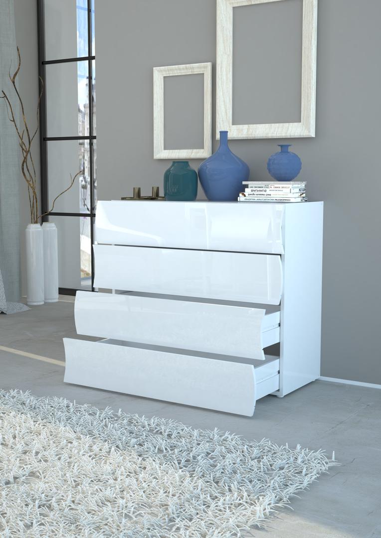 Cassettiera bianca Goccia, mobile moderno per ingresso,soggiorno