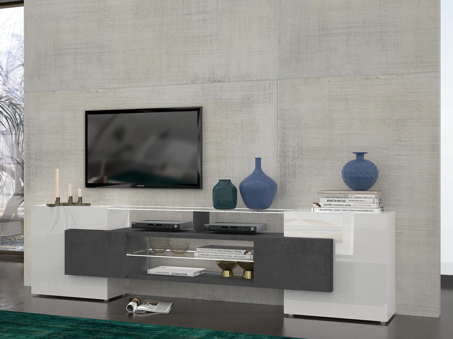 porta tv moderno dublino mobile soggiorno bianco e grigio. Black Bedroom Furniture Sets. Home Design Ideas