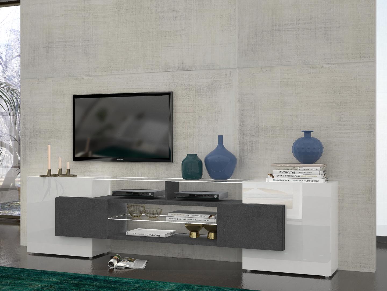 Porta tv moderno dublino mobile soggiorno bianco e grigio Mobile soggiorno bianco