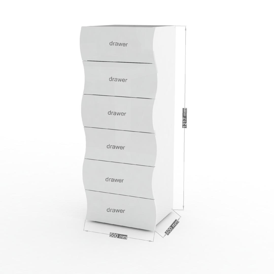 cassettiera grande goccia 66, mobile bianco con 6 cassetti - Mobile Ufficio Bianco