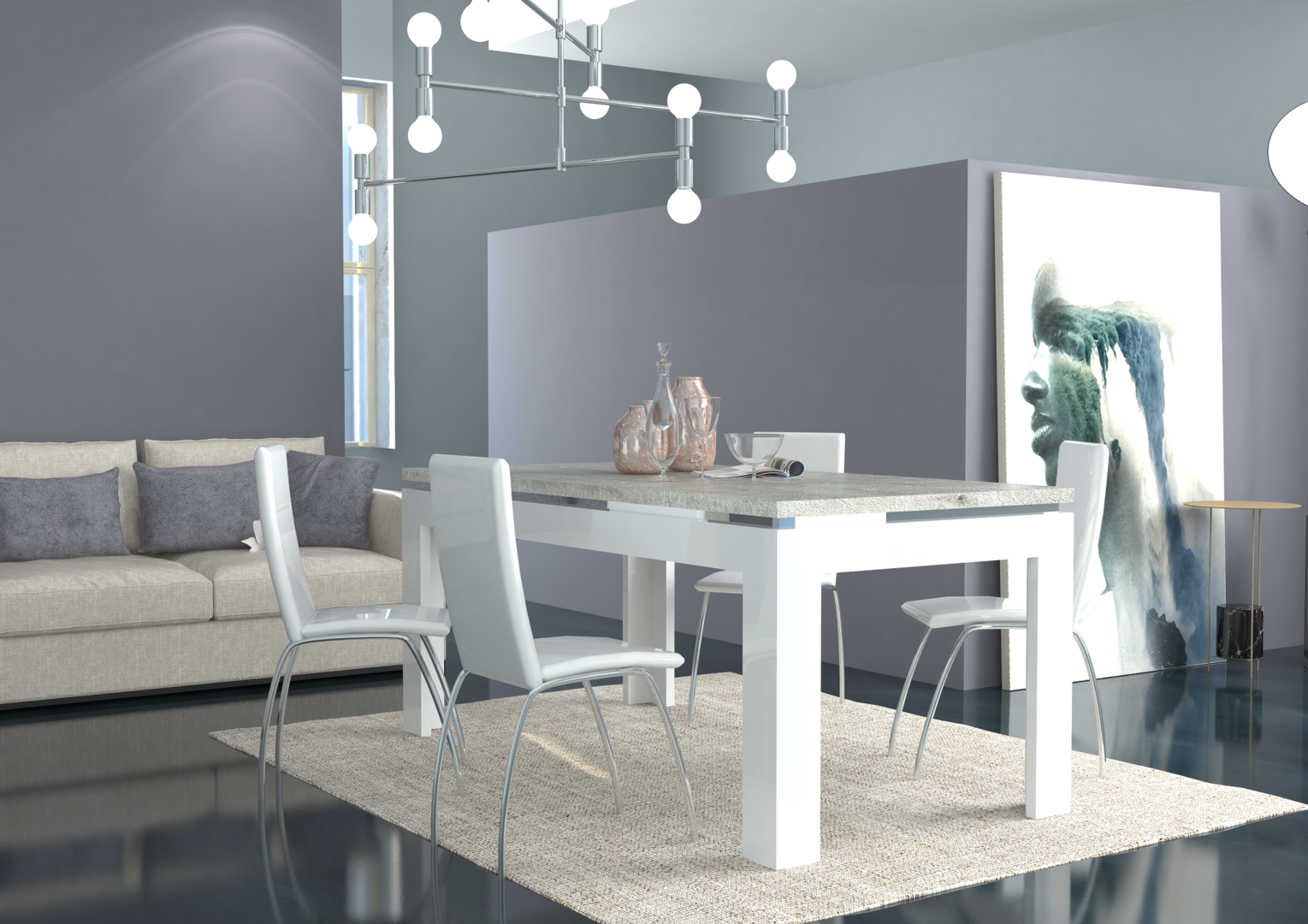 Tavolo moderno bianco messico mobile per sala da pranzo for Sala da pranzo versace
