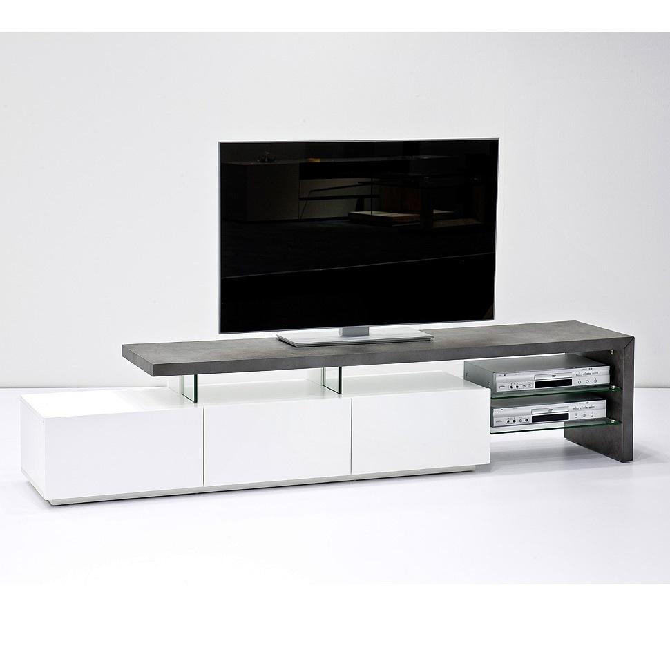 Porta Tv Moderno.Porta Tv Moderno Elegante Bergamo Mobile Soggiorno Bianco E Cemento Di Design