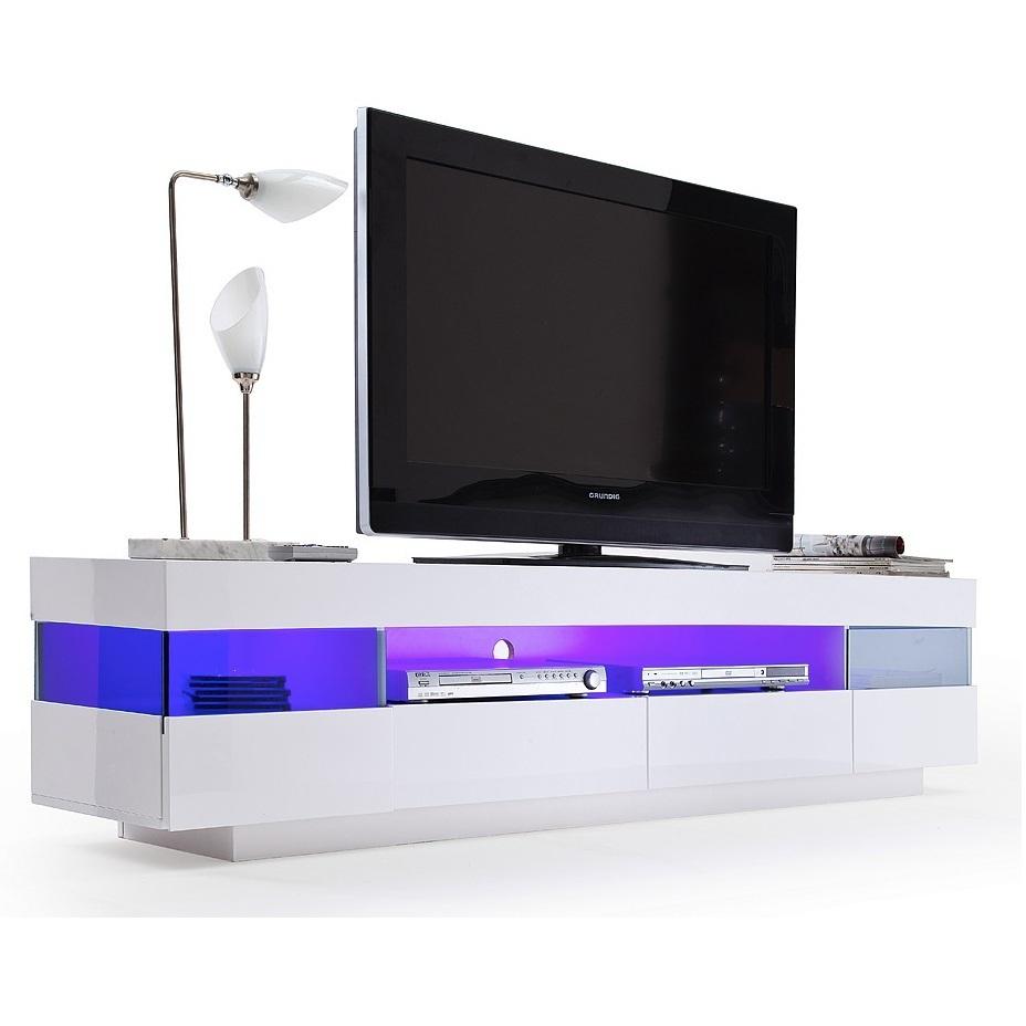 sanremo porta tv moderno mobile soggiorno bianco con led. Black Bedroom Furniture Sets. Home Design Ideas