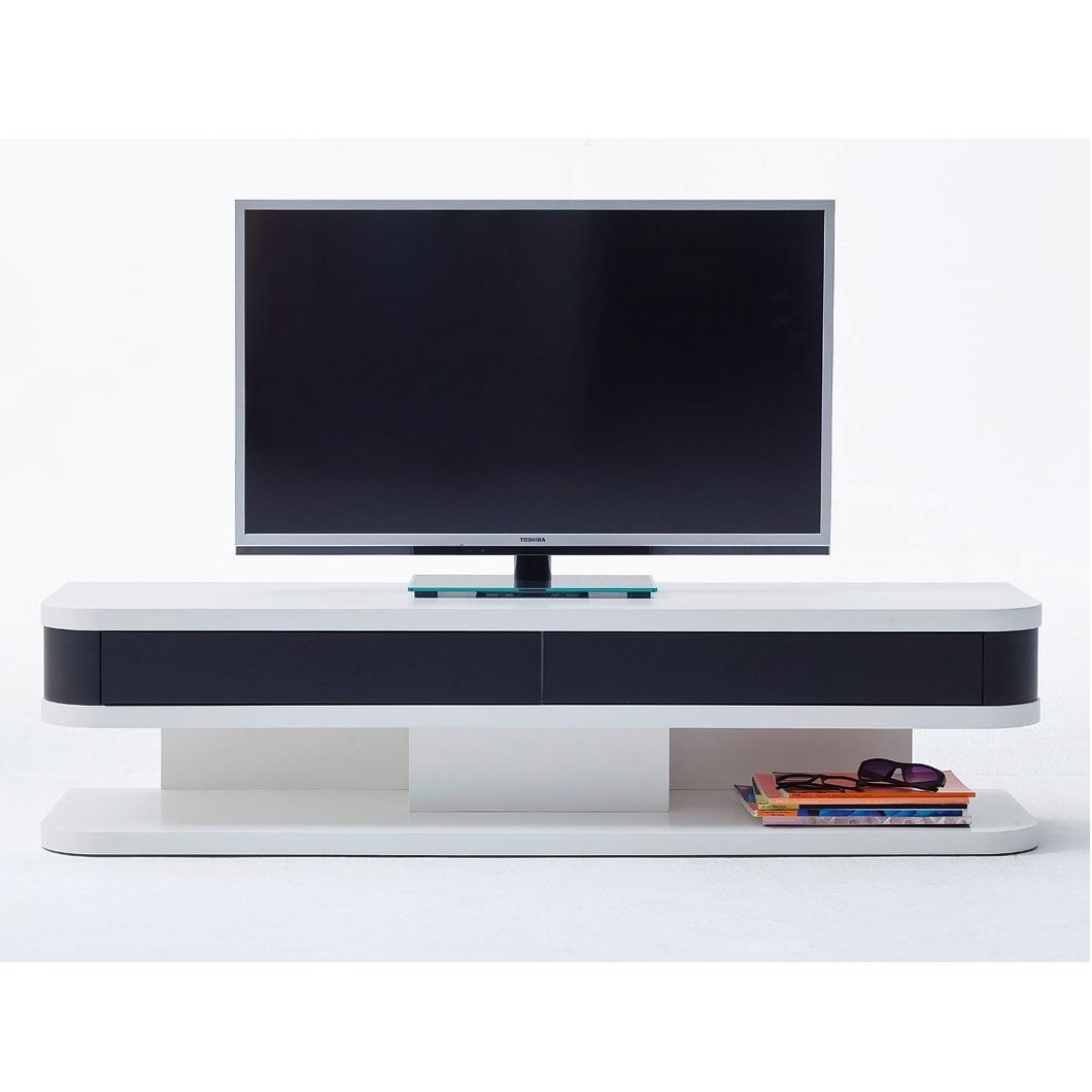 Mobile porta tv small bianco e nero per soggiorno portatv - Porta tv nero ...
