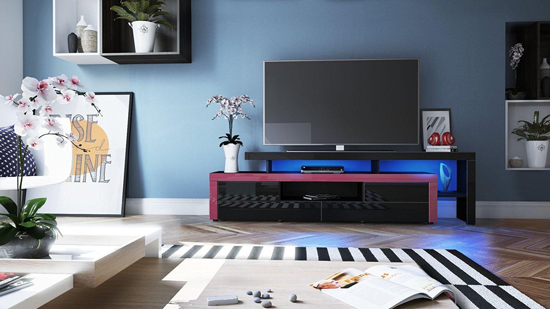 portofino mobile porta tv moderno nero, per soggiorno design - Soggiorno Fucsia