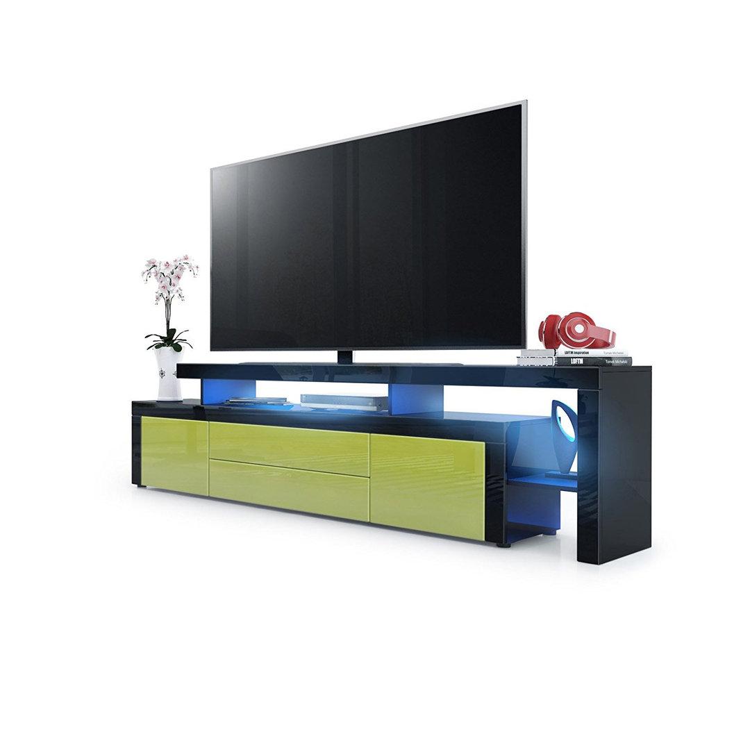 Porta tv moderno portofino p2 mobile soggiorno nero con led - Porta tv nero ...