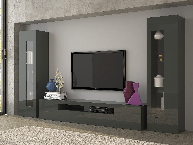 Mobile soggiorno tower porta tv e vetrine moderne soggiorno for Mobili giorno moderni