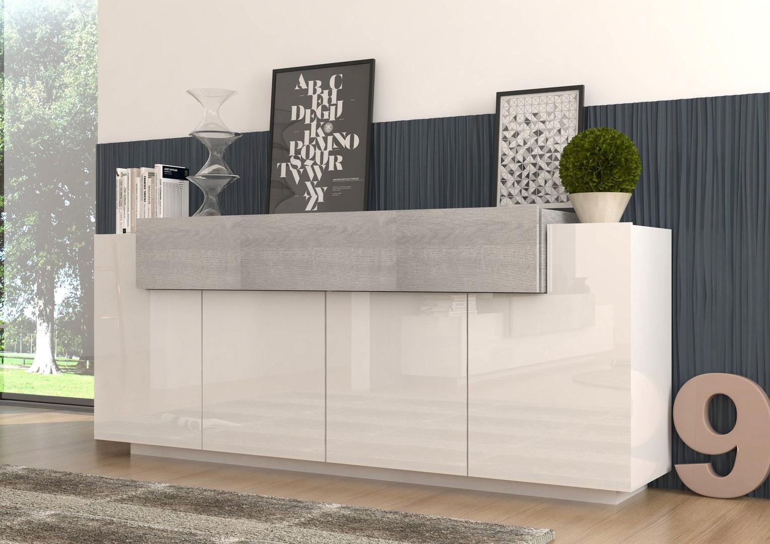 Madia moderna biella mobile soggiorno bianco e rovere grigio for Mobili soggiorno design