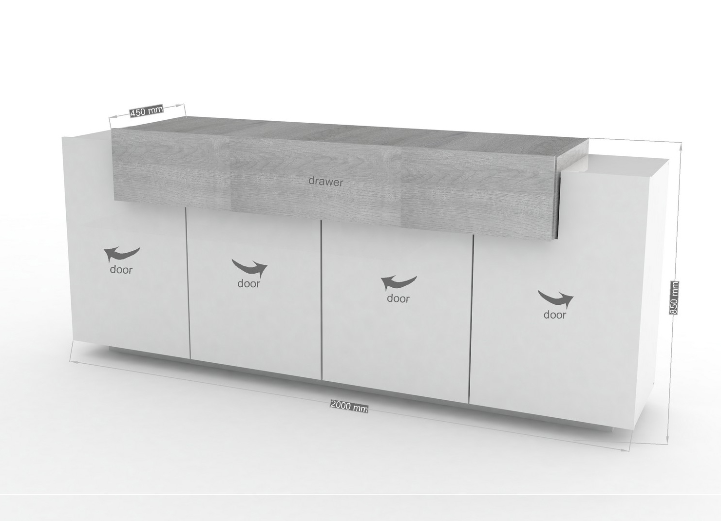 Credenza Moderna Design Maggie : Madia moderna biella mobile soggiorno bianco e rovere grigio