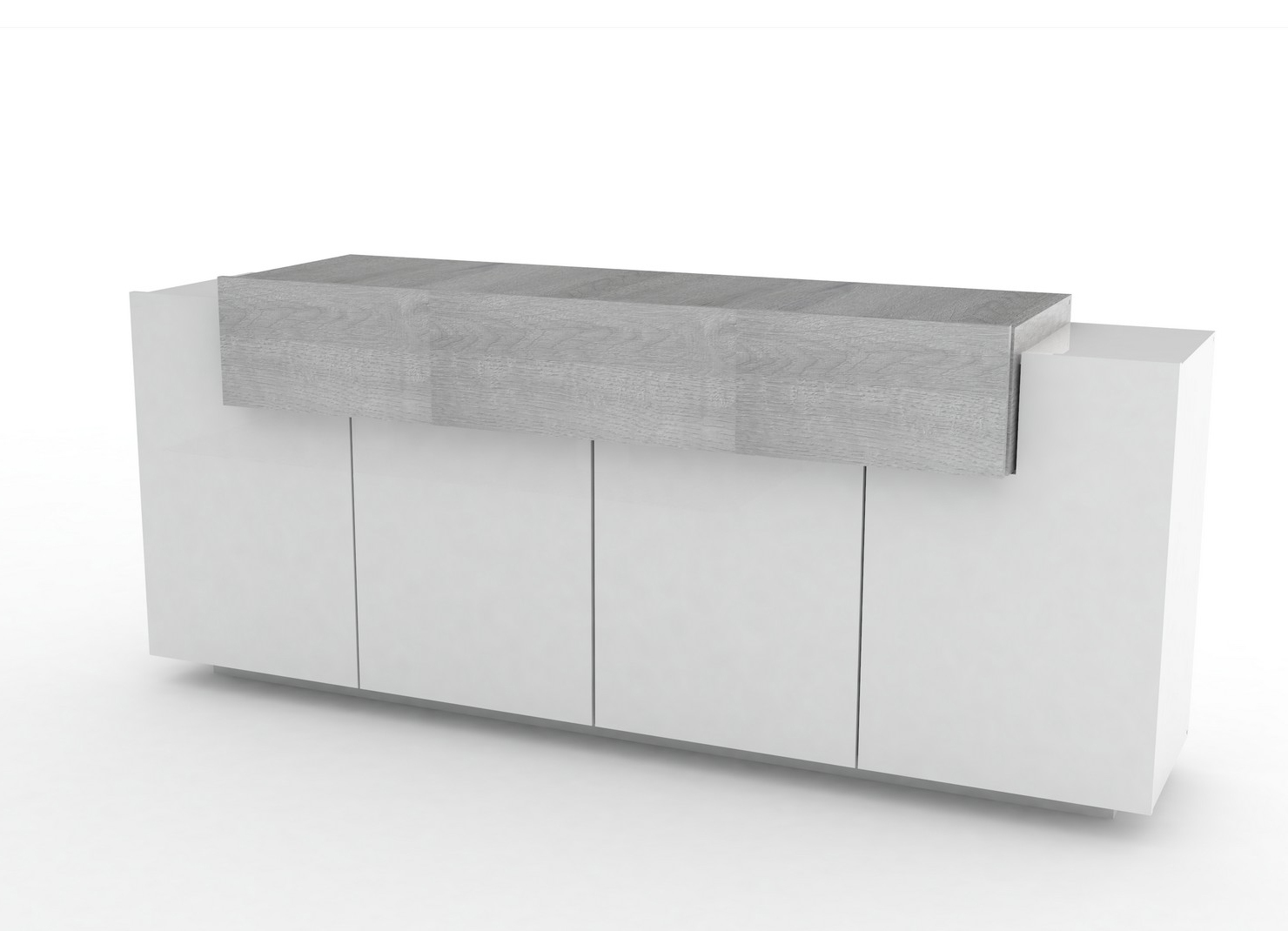 Madia moderna Biella, mobile soggiorno bianco e rovere grigio