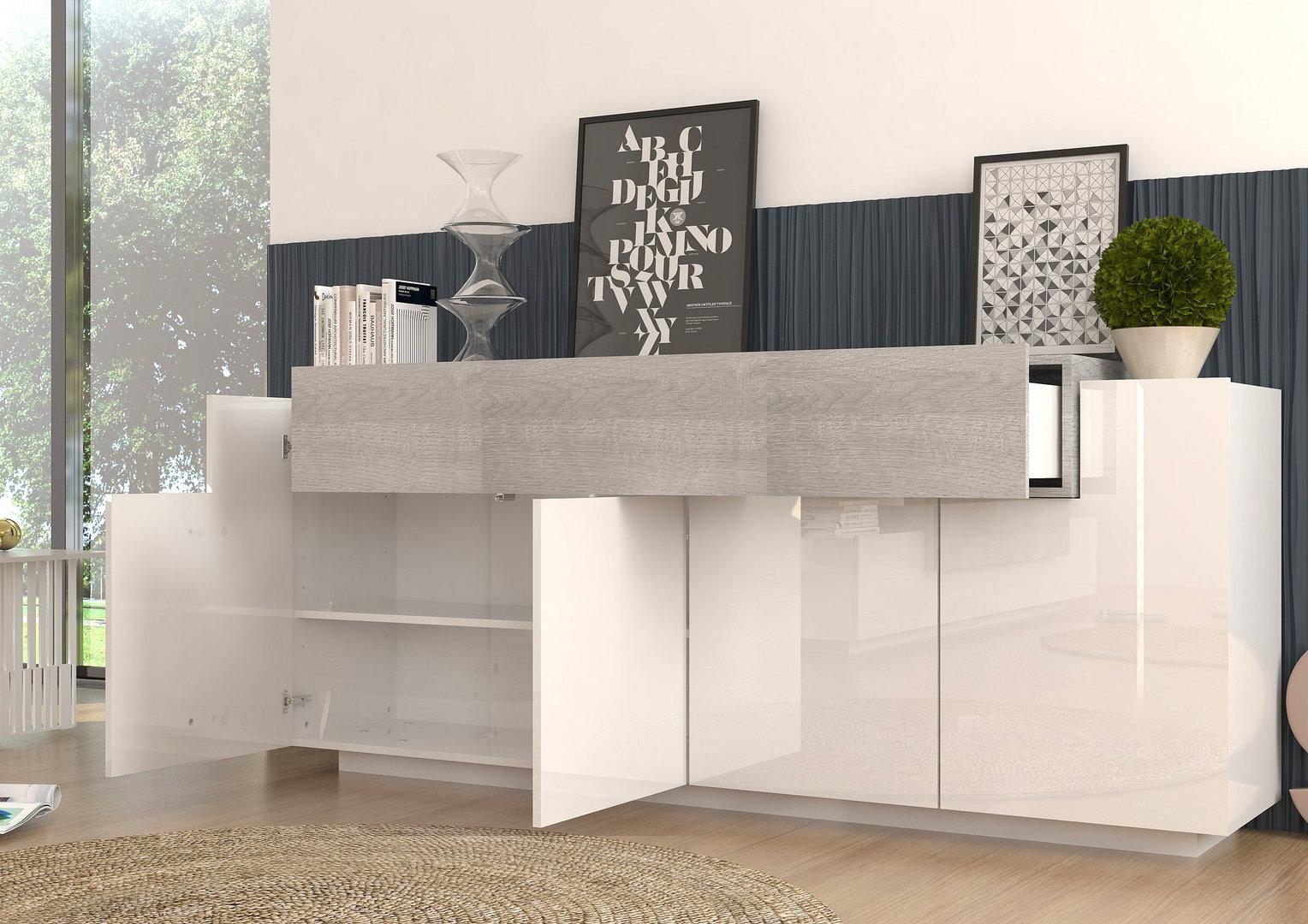 Madia moderna biella mobile soggiorno bianco e rovere grigio Mobile soggiorno bianco