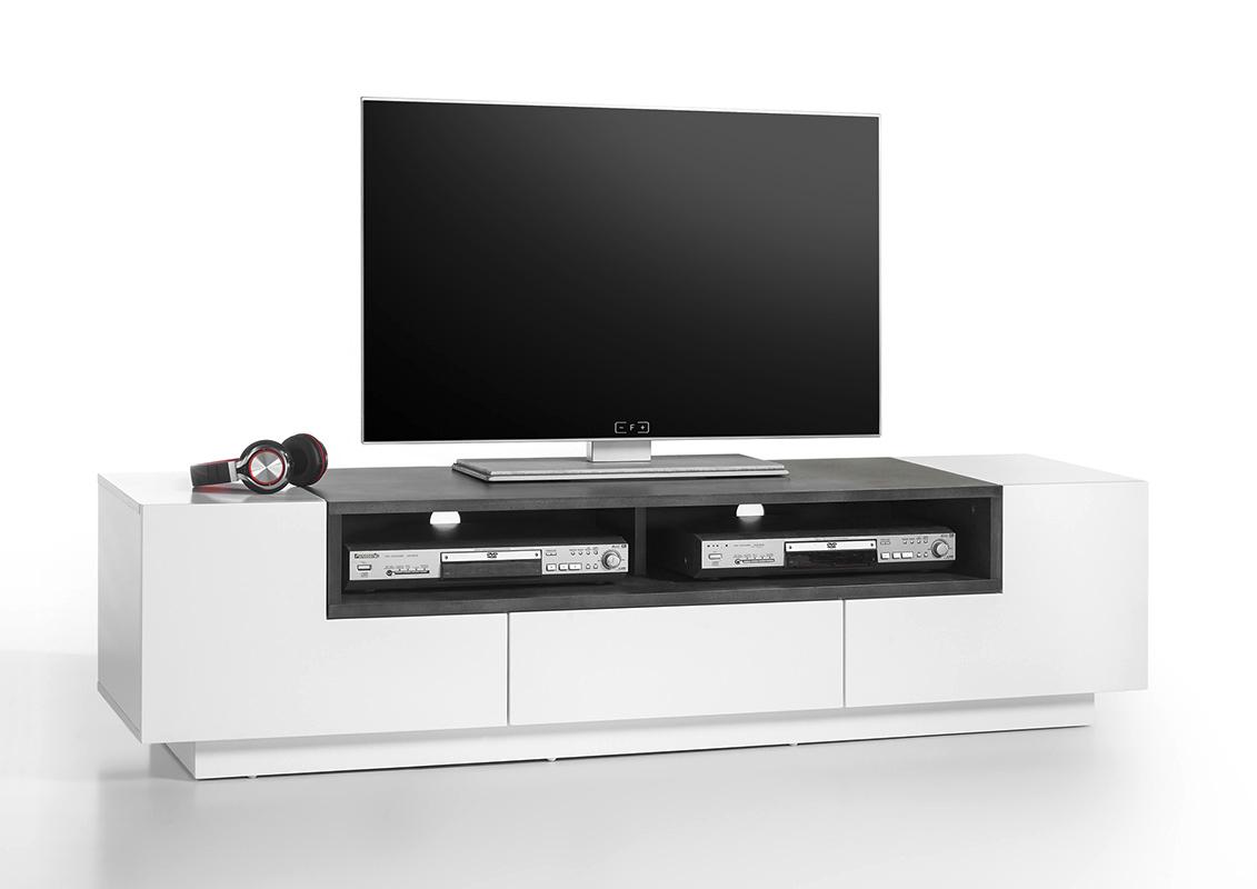 Porta Tv Bianco Opaco.Porta Tv Bianco Opaco E Cemento Global Mobile Portatv Per Soggiorno Design Nuovo E Moderno