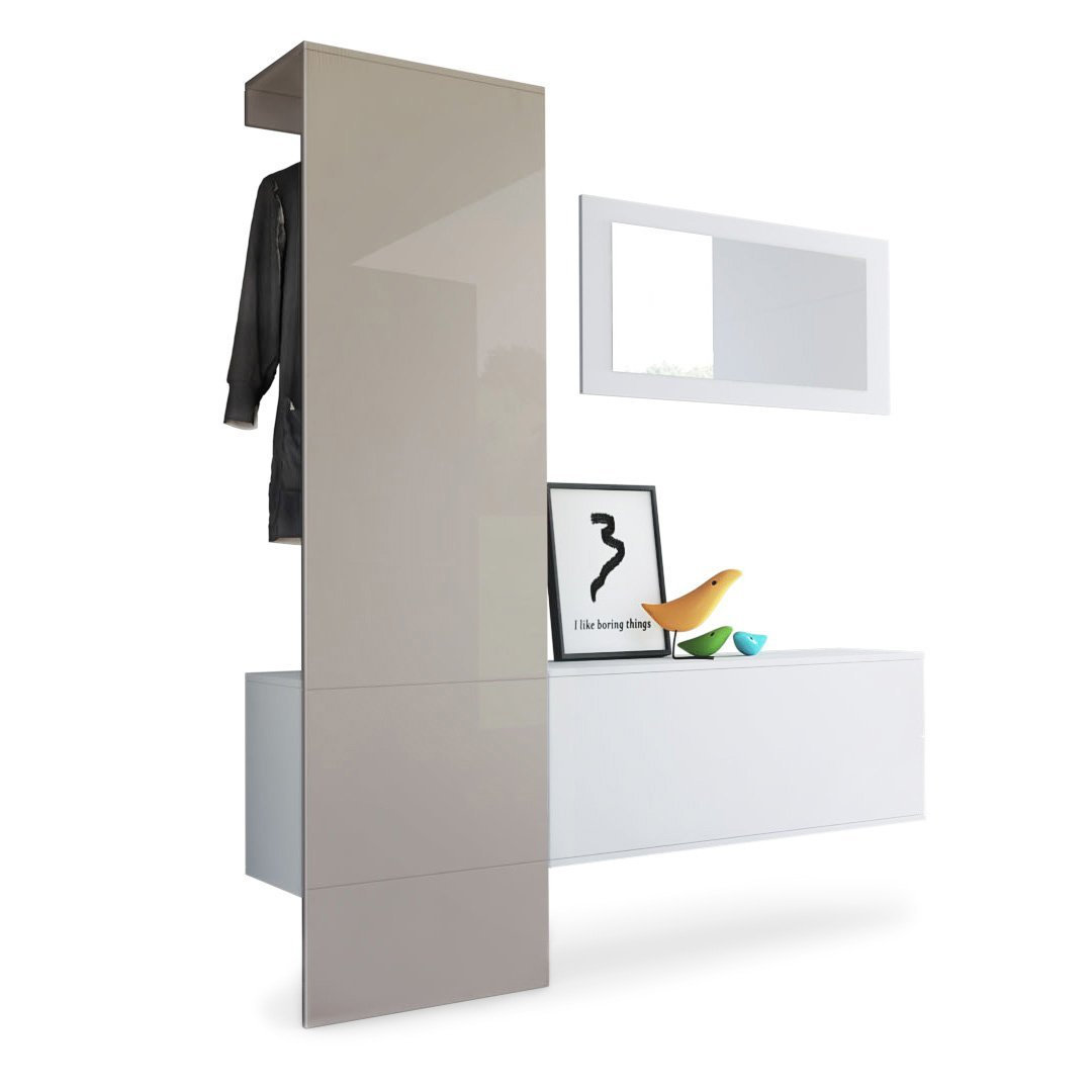 Mobile per ingresso Neve 4, appendiabiti specchio e scarpiera in 13 colori  design
